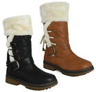 WOMENS LADIES LACE UP CALF BUCKLE FUR HARD GRIP SOLE WINTER SNOW RAIN BOOTS SIZE