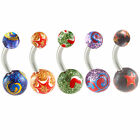 Belly button rings ball glitter navel piercings bars steel jewellery 2PCs 9KAC