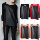 Hot Sell New Style PU Leather Splice Round Neck Long-Sleeved Pullover Sweater