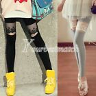 Women's Sexy Lace Faux PU Leather Leggings Slim Fit Pants Bodycon Elastic Tights