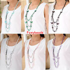 Lovely Women Butterfly Round Ball Bead Pendant Chain Long Necklace Gift 6 Colors