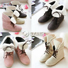 DZ88 Women's Sweet New Lace Up Winter Short Boots Flat Ankle Shoes 3 Colors