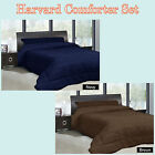Choice of Navy or Brown - HARVARD Comforter + 2 Pillowcase(s) - SINGLE QUEEN