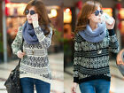New Korea Style Snowflake Pattern Knit Sweater Pullover Scoop Neck Wrap Sweater