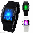 Sport Digital LCD Dual Time Date Day Alarm Stopwatch Silicone Wrist Watch Unisex