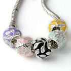 5/10/20PC Silver Tone Enamel Flower Bead Spacer Fit European Charm Bracelet New