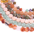 """14mm Coin Carved Flower Natural Gemstone DIY Loose Beads For Jwelry Making 15"""""""