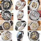 Men Skeleton Tourbillon Moonstruck Auto Mechanical Analog Wrist Watch PU Leather