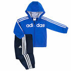 ADIDAS Infant Baby Kids 3 Stripes Bling Jogger Hoodie Set/Tracksuit Blue 3-24mth