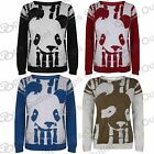 Womens Ladies Long Sleeves Panda Face Girls Knitted Pullover Sweater Jumper Top
