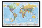 World Map & Flags Pinboard - Cork Board With Pins - Choice Of Frame Colours