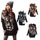 HOT Fashion Tiger Pullover Hoody Batwing Long Sleeve Knitted Casual Tops Sweater