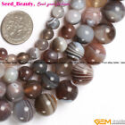 "Pretty Round Botswana Agate Gem Loose Beads Jewelry Making Strand 15"" Size Pick"