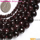 Jewelry Making genuine natural faceted round garnet gemstone beads strand 15""