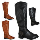 NEW WOMENS LADIES MID-CALF FASHION RIDING BIKER LOW HEEL BOOTS SHOES SIZE 3-8 UK