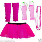 CHRISTMAS HEN NIGHT PINK NEON COLOUR TUTU SKIRT BEADS LONG GLOVES LEG WARMERS
