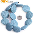 """Red Blue Black Green White Yellow Lava Rock DIY Beads 15"""" 27mm Button Coin-shape"""