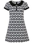 NEW RETRO SIXTIES INDIE MOD MINI DRESS 60s Vintage BLACK COLLAR DAISY MC146