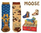 Shrink Wrapped Moose Pattern Magic Socks - Expand in Water! One Size Fits All