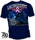 Blue T-Shirt with Fight for a Cure Pink Ribbon Elite Breed Law Police Design