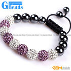 10mm Shining Pave CZ Crystal Ball Hematite Beads Bracelet Adjustable 6-8""