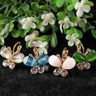 Fashion Sweet Women Girl Butterfly Glitter Bright Rhinestones Ear Studs Earrings