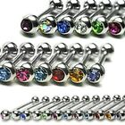 1 x 14g-16mm Steel Tongue Bar/Ring with Coloured Gem Body Piercing Jewellery