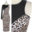 Leopard Body Contrast Faux Leather One Sleeve Sexy Pencil Fitted Dress S M L