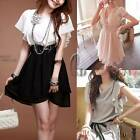 Womens Girls Soft Chiffon Formal Office Ruffled Mini Dress Size S dr013