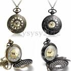 Retro Men Bronze Roma Numerals Steampunk Necklace Chain Quartz Pocket Watch Gift