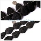 jewelry making 30x40mm natural drip black lava rock gemstone beads strand 15""
