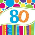 80th Birthday Napkins Balloons Invitations Banner Plates Cupcake Stand Cases etc