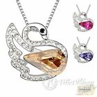 White Gold Plated Swan Crystal Necklace Made with Swarovski Elements
