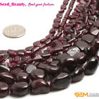 Jewelry making 6mm 5x8mm multi freeform oval drop coin garnet beads strand 15""
