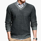 Men 100% Cotton Soft Style Slim Fit V-Neck Knitting Sweater Size XS S M L Black