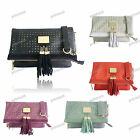 RED PURPLE BLACK CREAM GREEN LYDC Faux Leather Fold Over Laser Evening Bag #728