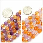 Fashion round 6/8/14mm multi-color amethyst / citrine gemstone loose beads 15""