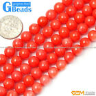 G-Beads Round Orange Coral Beads Jewelry Making Gemstone Loose Beads Strand 15""