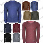 Mens Long Sleeves Round Neck Cable Chunky Knitted Sweater Pullover Jumper Top