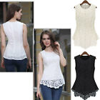 Sexy Lady Women Girl Sleeveless Crew Collar Lace Peplum Blouse Tops Vest Shirts