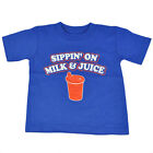 Sippin On Milk & Juice Bottle Humor Toddler Tee Comedy Tshirt Boys Cute Shirt