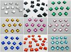 200 Flatback Acrylic Square Rhinestone Button 10mm Sew on Beads Pick Your Color