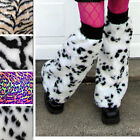 1084 UV Reactive Dalmatian Dog Costume Fur Leg Warmers Boot Covers Gogo Dancer