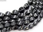Natural Black Onyx Gemstone Swirl Twisted Drum Beads 15.5'' 6mm 8mm 10mm 12mm