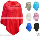 New Womens Polo Neck Button Knitted Ponchos Wrap Shawl Jumper Top Plus Size
