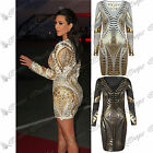 Womens Ladies Long Sleeves Stretchy Celebrity Gold Foil Aztec Bodycon Dress Top