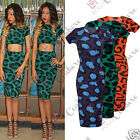 Womens Celeb Animal Print Cut Out Bodycon Midi Backless Ladies Fitted Sexy Dress