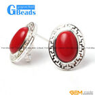 Fashion jewelry oval bead  silver lever back hoop stud earring 1 pair G-Beads