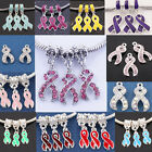 Lot 18 Types Breast Cancer Awareness Enamel Crystal Ribbon Dangle Charm Beads