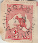 Postmark MURRABIT Victoria 1913 unframed cds on Kangaroo 1d red stamp, rated 2S